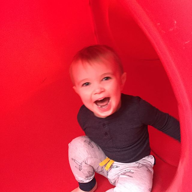 "So proud of my little man! He's got a great joie de vivre, and excellent command of the ""tunnel slide!"" #indoorplayground #loveububs"