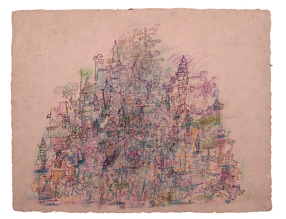 """Violet Sand Mountain"", 2011 ink, watercolor on paper 20 x 25 ½ inches"