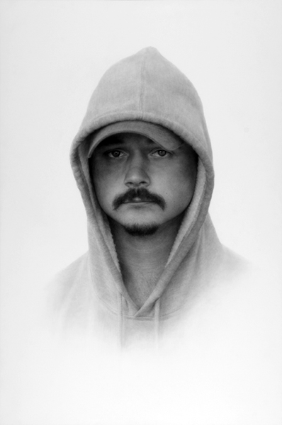 Patrick Lee, Deadly Friends (Hoodie), 2008, graphite on paper, 36 x 24 inches