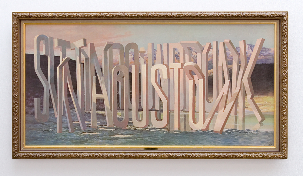 "Wayne White, ""Sittin Around Drunk in Houston"", 2013, acrylic on offset lithograph, framed, 28 x 52 inches"