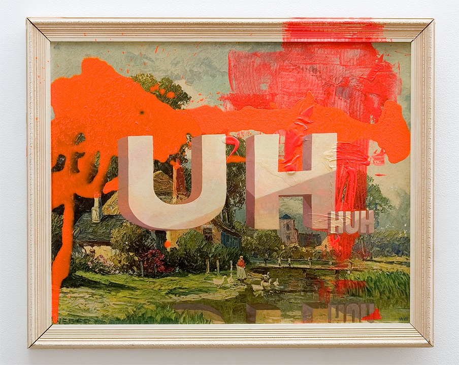 "Wayne White, ""Uh Huh"", 2013, acrylic on offset lithograph,framed, 25 x 31.5 inches"