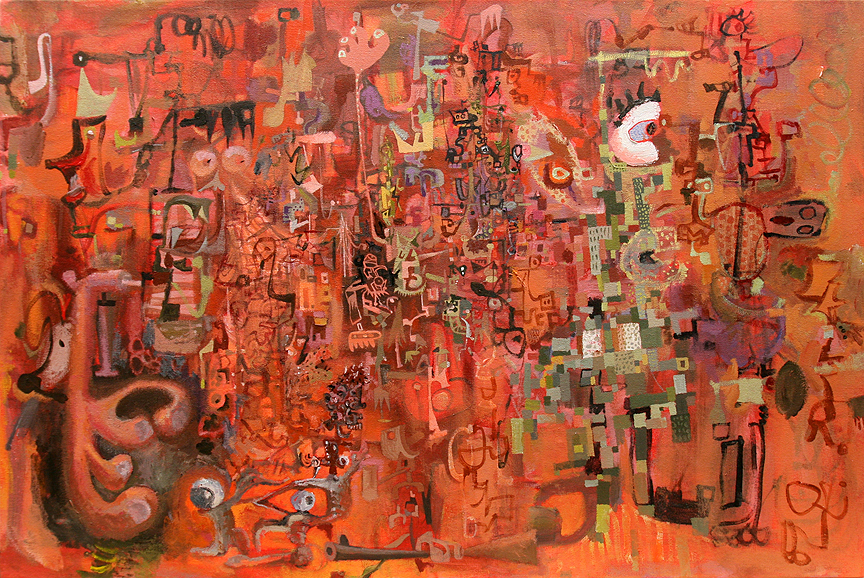 "Wayne White, ""Puppet Studio II"", 2011, acrylic on canvas, 24x36 inches"
