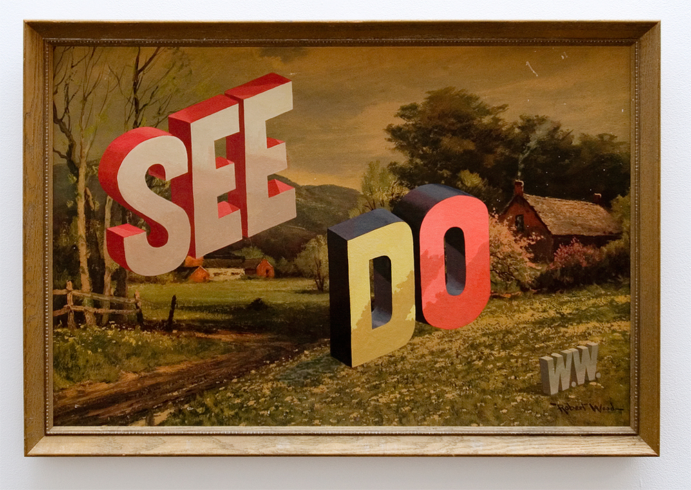 "Wayne White, ""See Do"", 2013, acrylic on offset lithograph, framed, 26.75 x 39 inches"