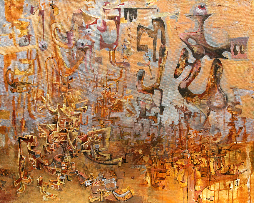 "Wayne White, ""Fast Twirl"", 2011, acrylic on canvas, 32 1/2 x 40 inches"
