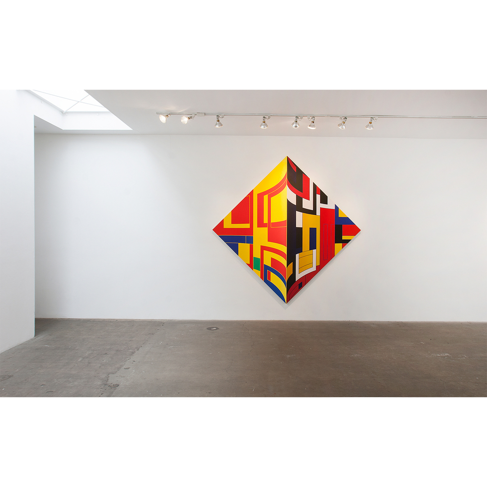 Thomas Burke, Dutch Jailbreak, 2014, acrylic on panel, 102 x 102 inches; Installed at Western Project, 2015