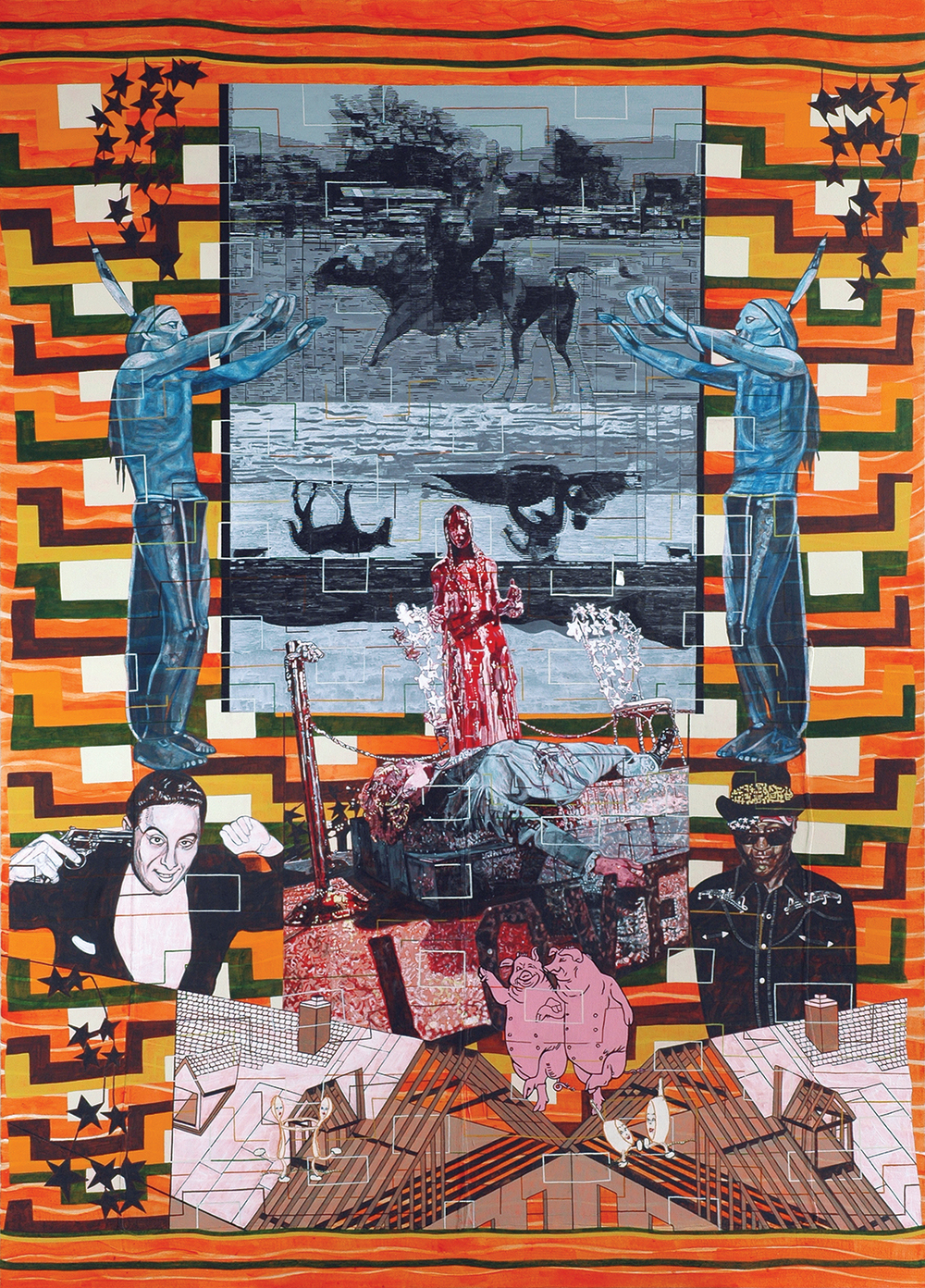 "Carole Caroompas, ""Dancing With Misfits: Eye-Dazzler: Damn Bull Had The Whole Milky Way in that Hoof, 2007, acrylic on found embroidery over canvas, 87.5 x 63 inches"