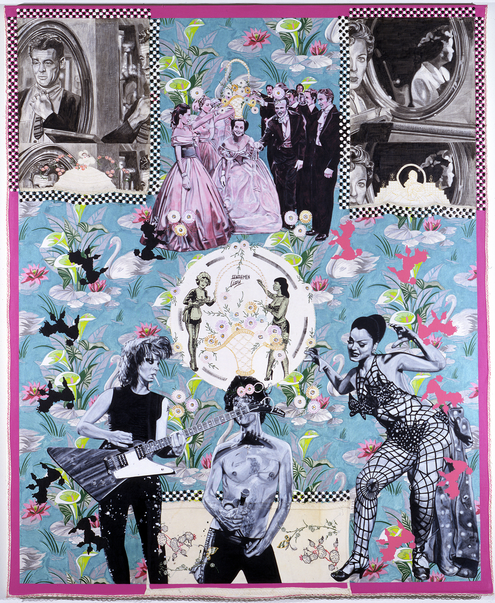 "Carole Caroompas, ""Heathcliff and the Femme Fatale Go On Tour: Ladies, Gentlemen, Master, Servant"", 2000, acrylic on found embroidery over canvas, 84 x 72 inches"