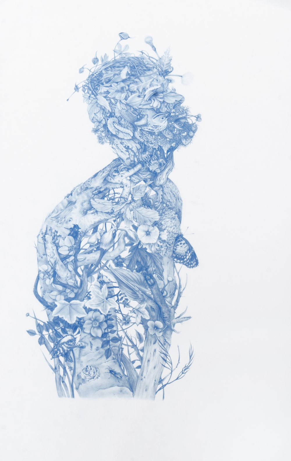Zachari Logan, Green Man, 2014, blue pencil on Mylar, 28 x 18 inches