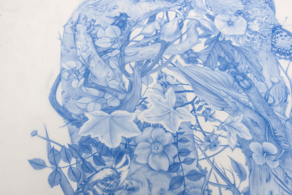 Zachari Logan, Green Man (DETAIL), 2014, blue pencil on Mylar, 28 x 18 inches