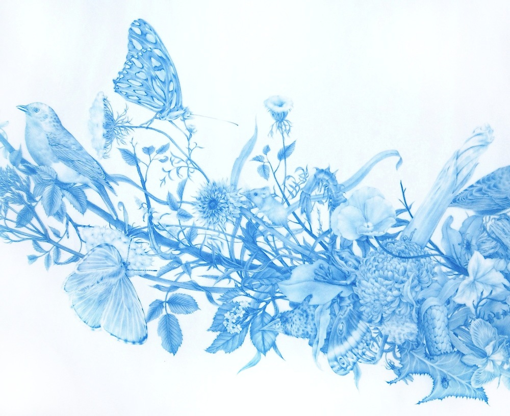 Zachari Logan, Wild Man 4 (DETAIL), 2015, blue pencil on Mylar, 21 x 35 inches