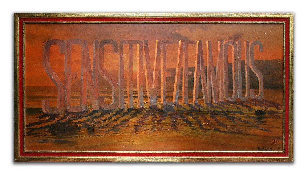 WAYNE WHITE, Sensitive Famous, 2001, acrylic on offset lithograph, framed, 27 x 52 inches