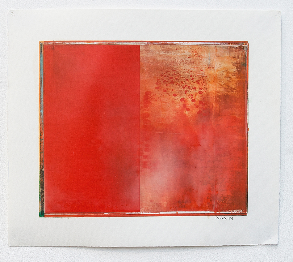 DANIEL BRICE, Untitled (Split Red), 2014, oil on paper, 20 x 16 inches