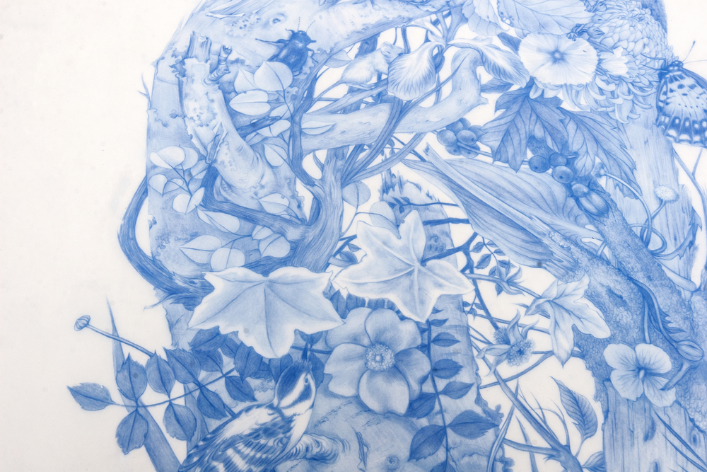 ZACHARI LOGAN, Green Man, (DETAIL), 2014 blue pencil on mylar, 28 x 18 inches