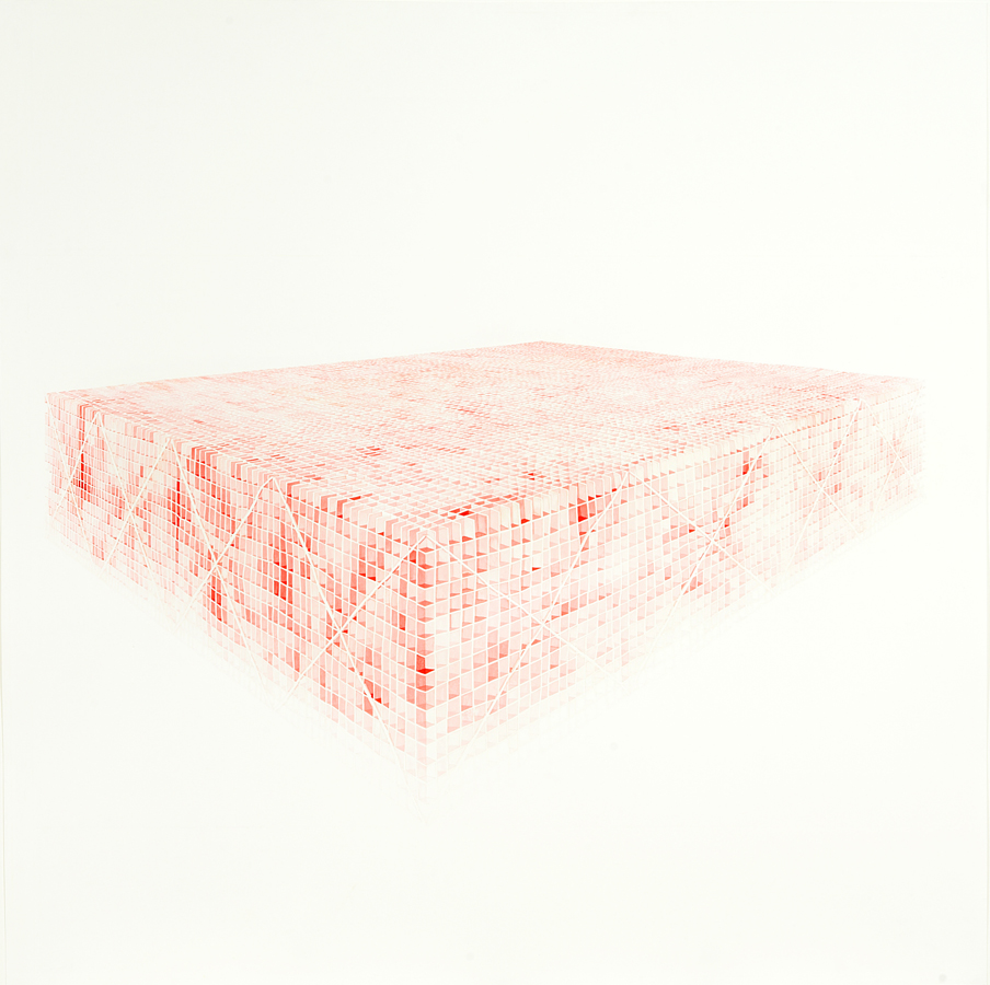 MARGARET GRIFFITH, Big Red, 2005, ink on paper, 47 x 47 inches