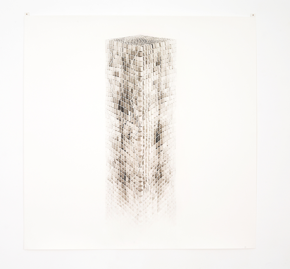 MARGARET GRIFFITH, Column, 2005, ink on paper, 48 x 48 inches