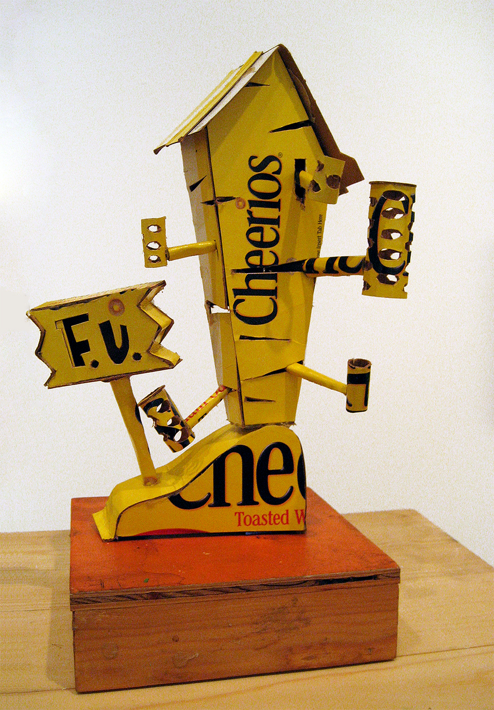 WAYNE WHITE, Cheerios Smoke Shack, 2008-09, cardboard, acrylic paint, 11 x 10 x 10 inches