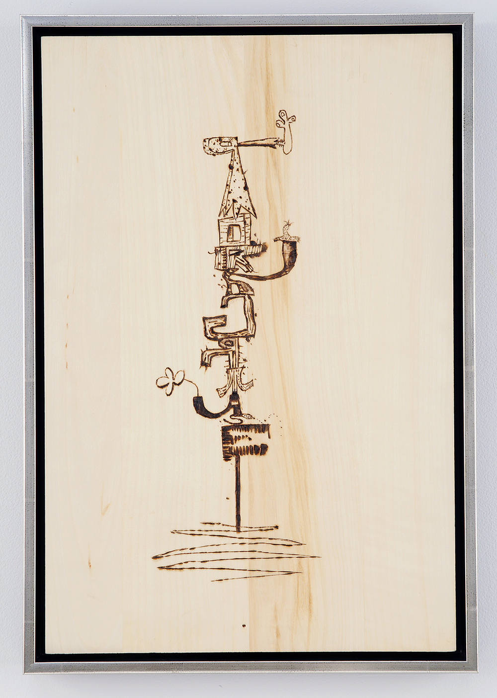 WAYNE WHITE, Pork Grease, 2008, wood burning, framed, 18 x 12 inches