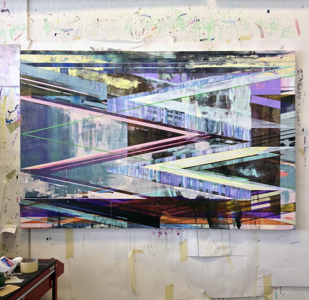 JOE LLOYD 2015 Studio (Span 2015, acrylic on canvas 42 x 64 inches)