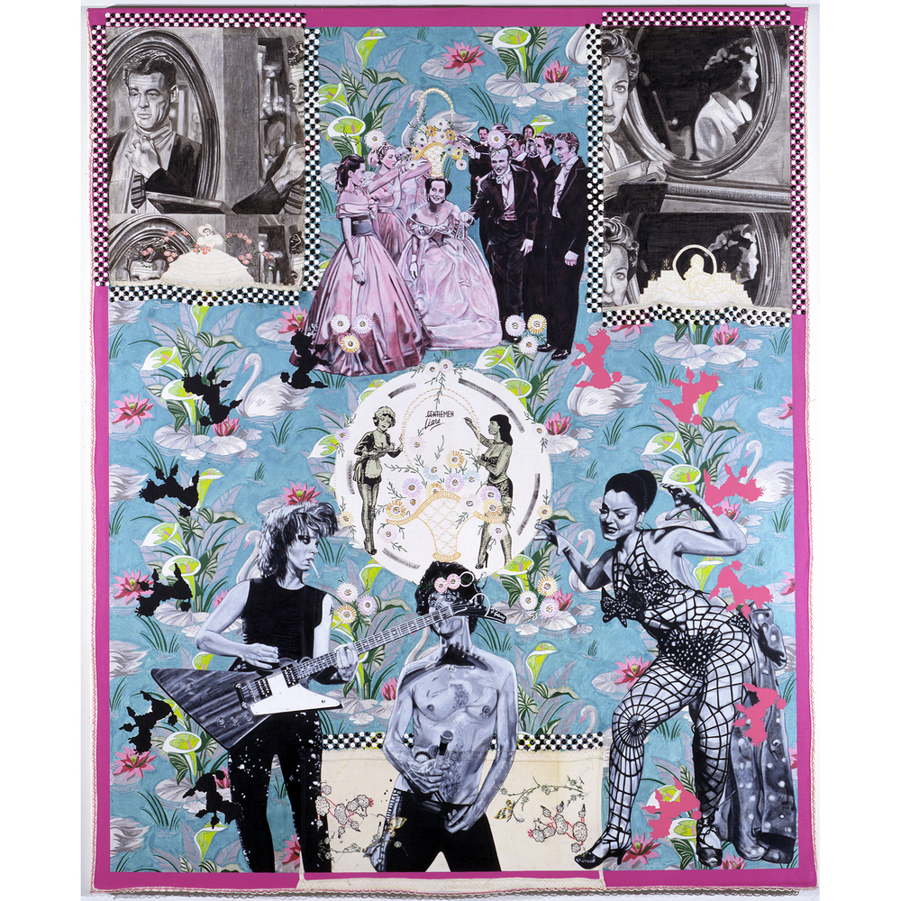 CAROLE CAROOMPAS, Hester and Zorro: In Quest of a New World: Ladies, Gentleman, Master, Servant, 2000 acrylic on found embroidery over canvas 84 x 72 inches