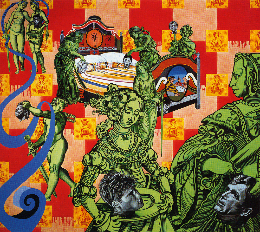 CAROLE CAROOMPAS, Before and After Frankenstein: The Woman Who Knew Too Much: Bedside Vigil, 1992, acrylic on canvas, 108 x 120 inches