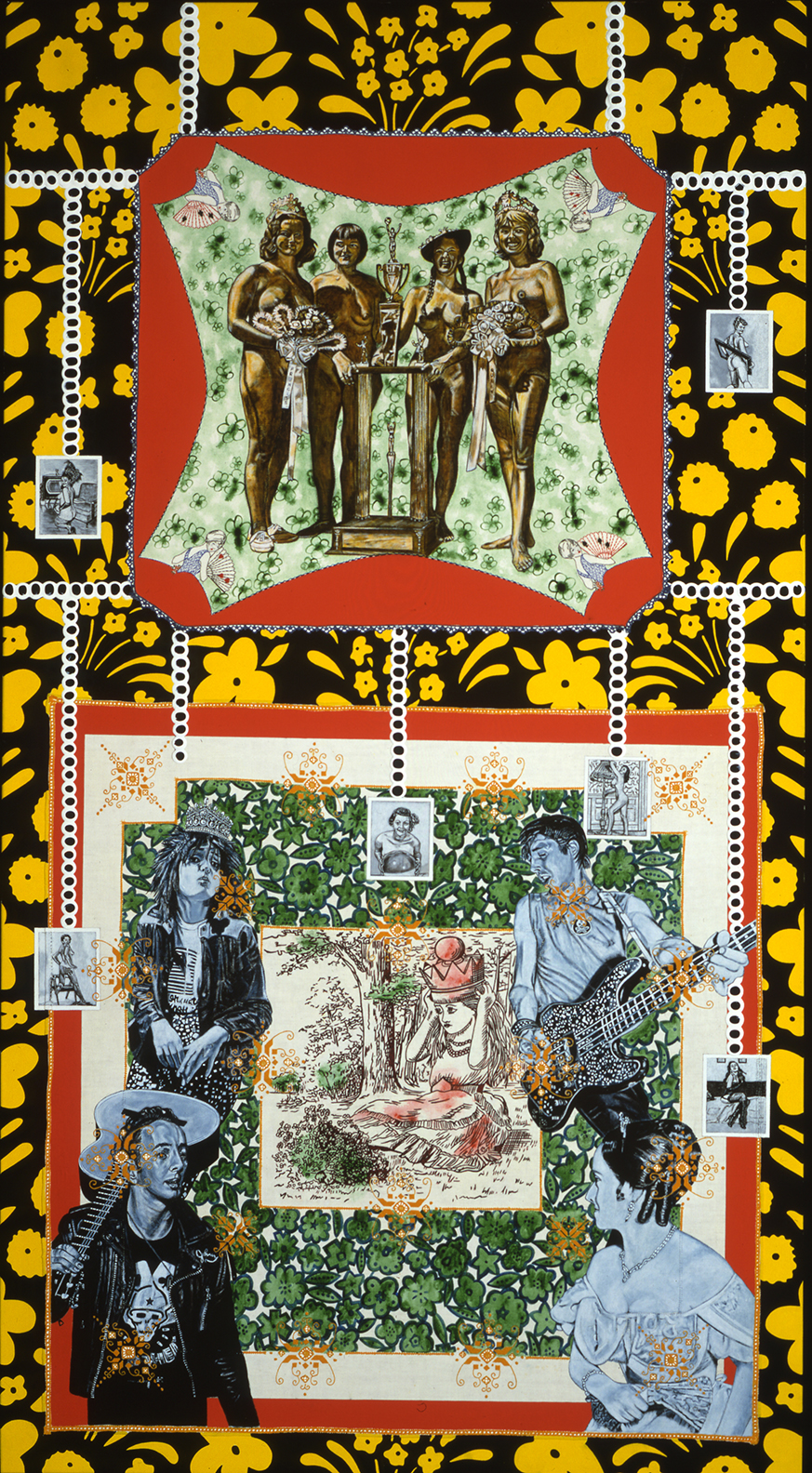 CAROLE CAROOMPAS, Hester and Zorro: In Quest of A New World: Queen of the Countryside, 1999 acrylic on found embroidery over canvas 96 x 50 inches