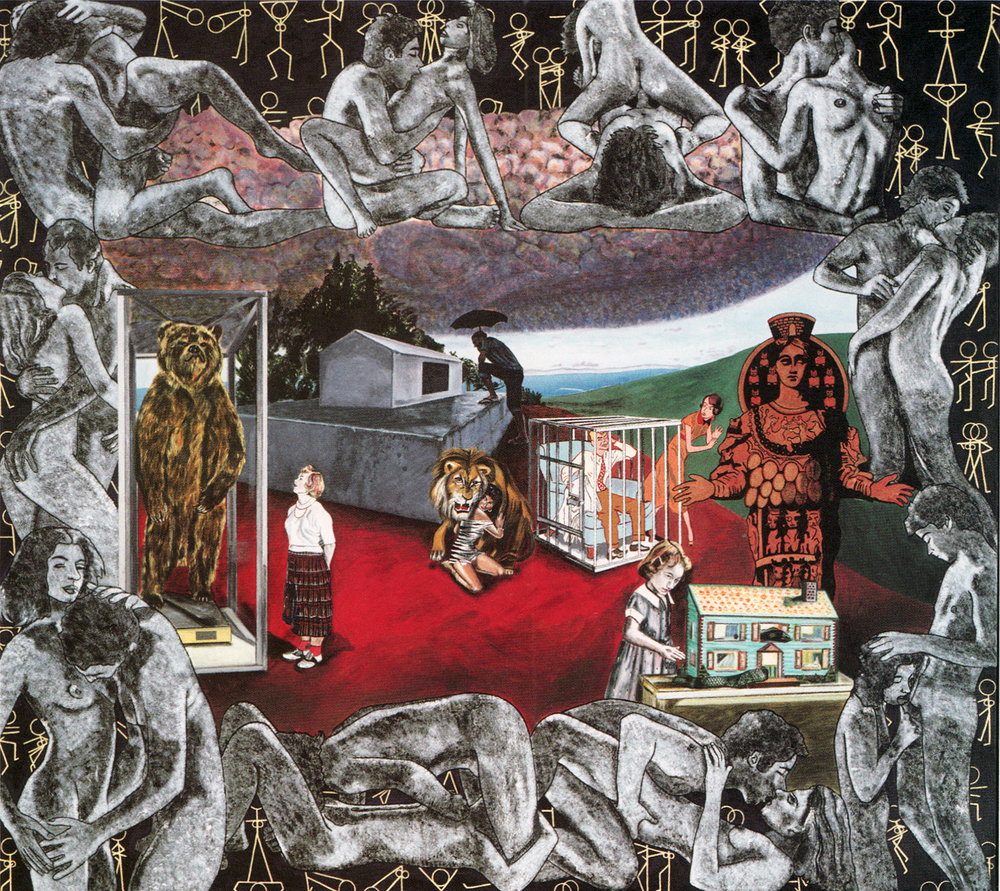 CAROLE CAROOMPAS,   Fairy Tales: Beauty and the Beast  , 1988, acrylic on canvas, 76 x 84 inches