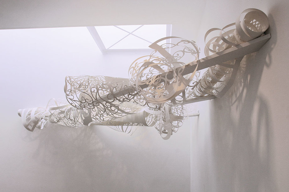 MARGARET GRIFFITH, Canopy, 2012 hand cut paper, approx. 24 x 24 x 72 inches
