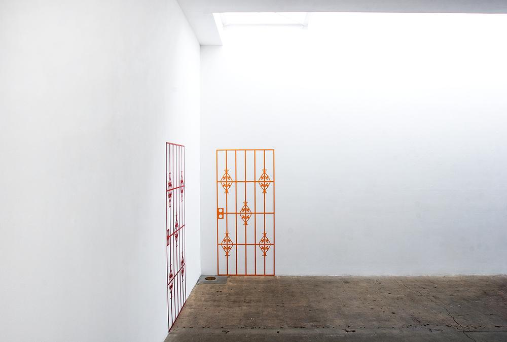 MARGARET GRIFFITH, Cherry, 2014, Waterjet cut aluminum, enamel, (2 parts), 70.25 x 32 inches each piece