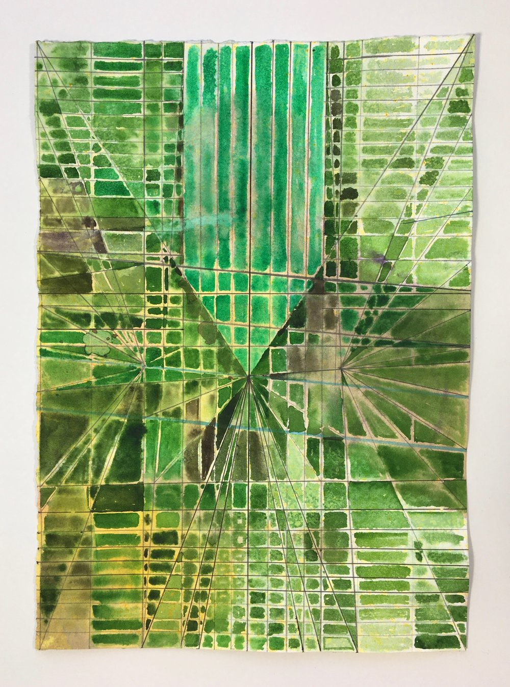 Joe Lloyd, Untitled (Green), 2017, watercolor on paper, 14 x 11 inches
