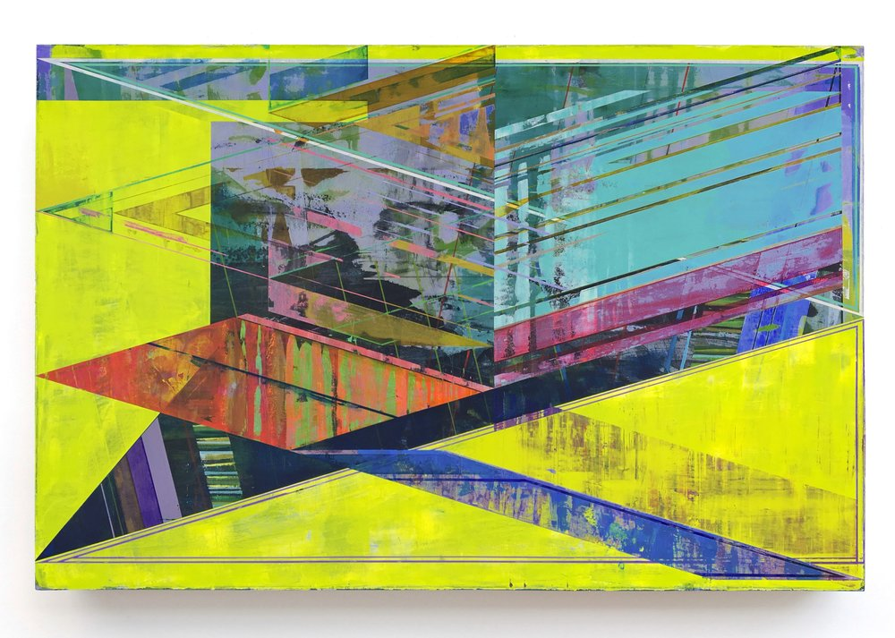 Joe Lloyd, Neon Prong, 2016, acrylic on canvas, 38.25 x 58 inches