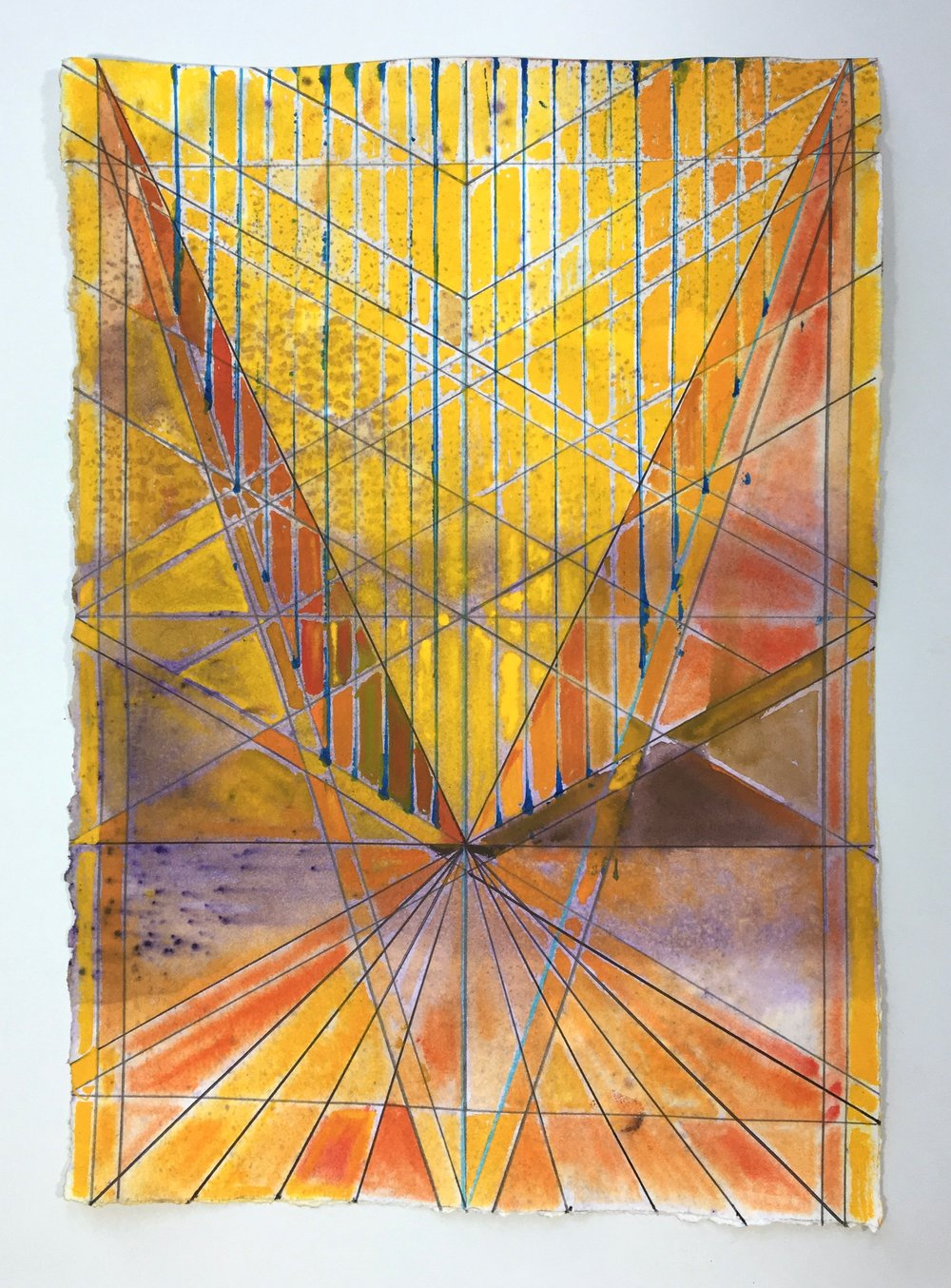 Joe Lloyd, Untitled (Yellow), 2017, watercolor on paper, 14 x 11 inches