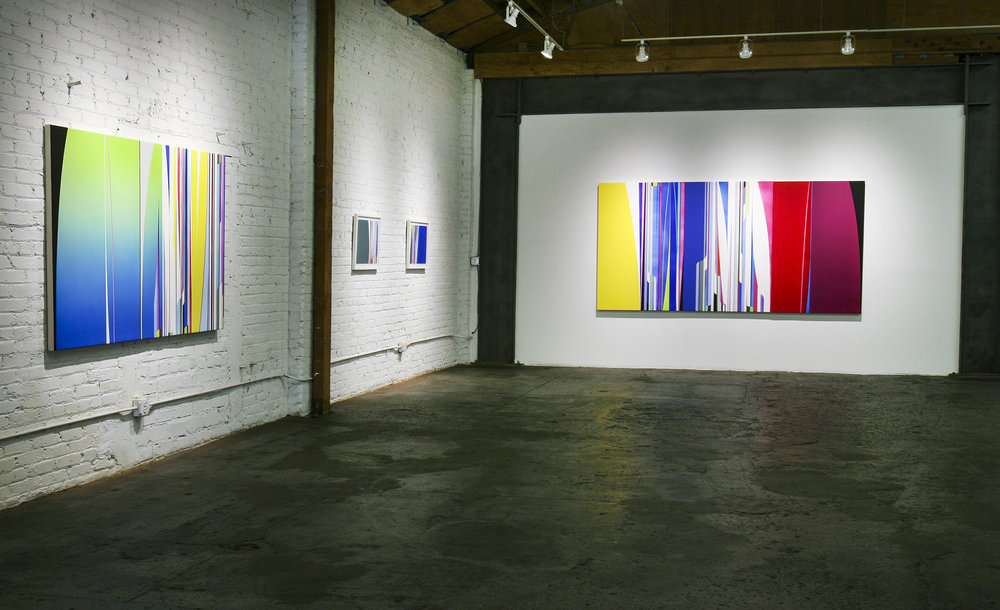 Left to right: Dion Johnson:  Day Dreamer, 48 x 72 inches;  Anti-Matter, 2017, 16.25 x 20.75 inches;  Liquid, 2017, 16.25 x 20.75 inches;  Time Traveller, 2017,  60 x 120 inches