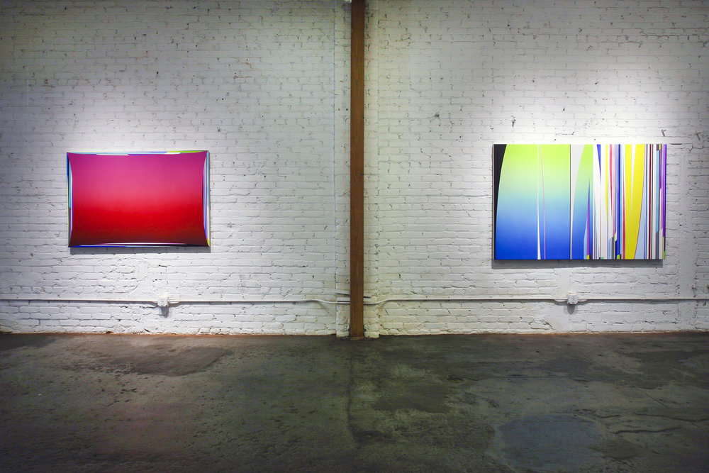 Left to Right: Dion Johnson: Chemical Chords, 2017, acrylic on canvas, 40 x 60 inches Day Dreamer, 2017, acrylic on canvas, 48 x 72 inches