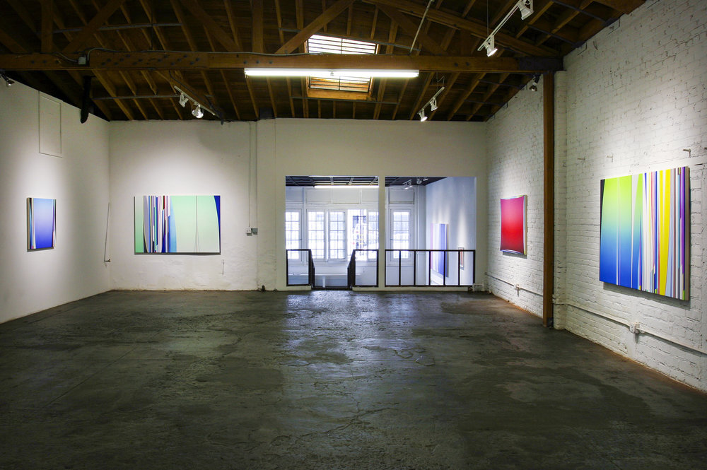 Left to Right: Dion Johnson, 2017: Zero Gravity, 3 x 36 inches; Terraformation, 48 x 72 inches; Chemical Chords, 40 x 60 inches; Day Dreamer, 48 x 72 inches