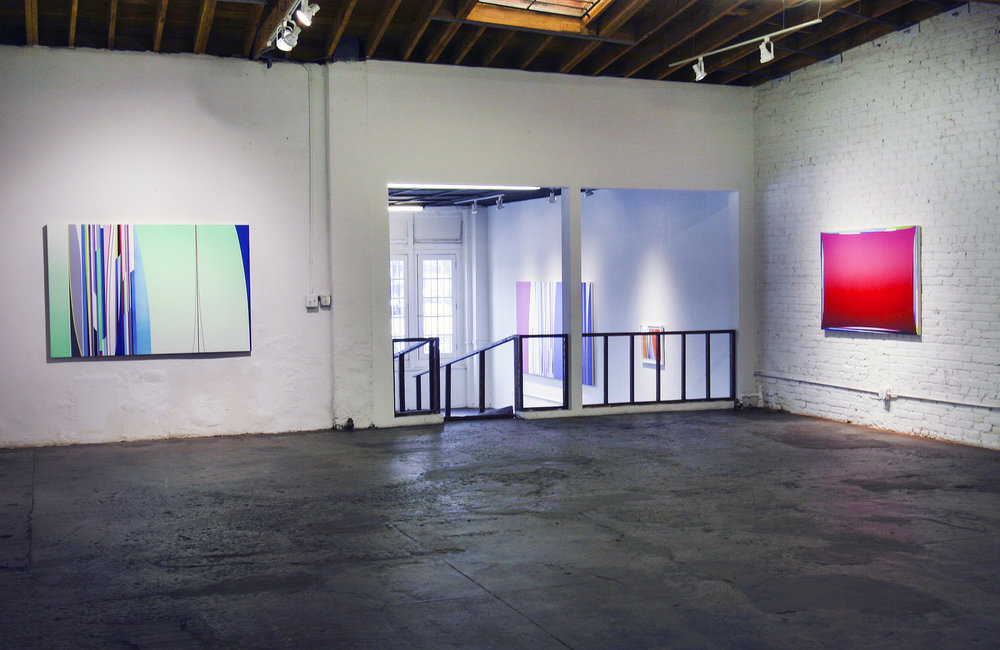 Left to Right: Dion Johnson, 2017: Terraformation, 48 x 72 inches; Chemical Chords, 40 x 60 inches