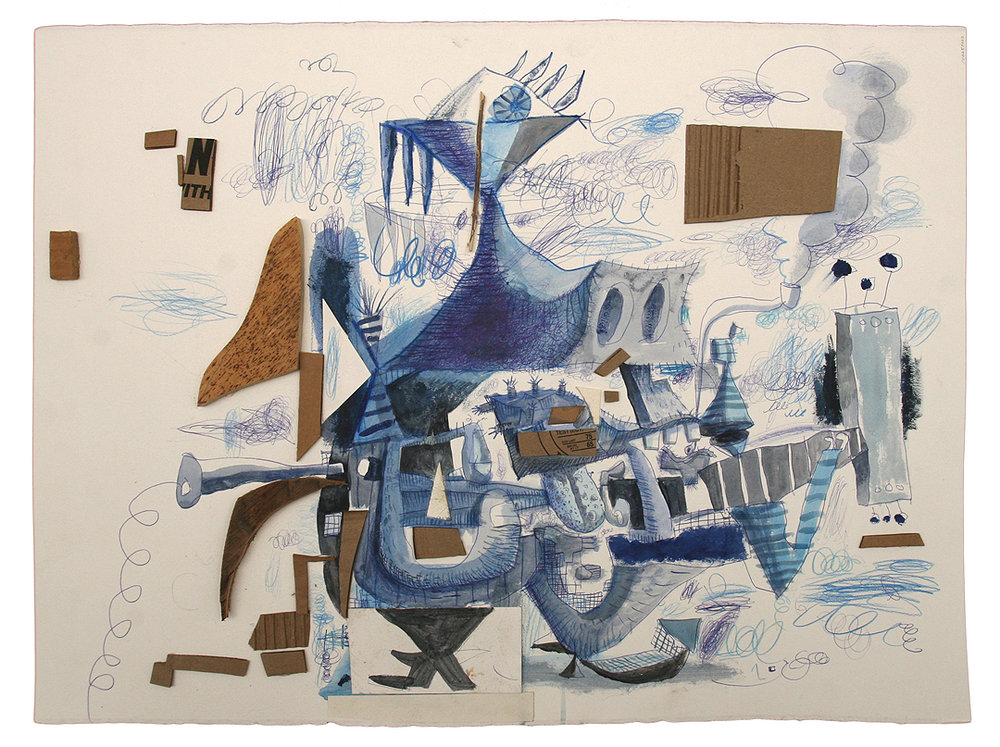 Wayne White, Swamp Rock, 2011, ink, acrylic, cardboard on paper, 22 x 30 inches