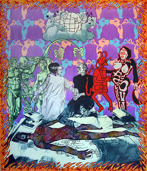 Carole Caroompas, Before and After Frankenstein: The Woman Who Knew Too Much: The Couple Who Had No Umbilicus, 1994, acrylic on canvas, 84 x 72 inches