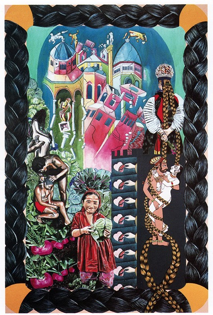 Carole Caroompas, Fairy Tales, Rapunzel, 1990, acrylic on canvas, 108 x 72 inches