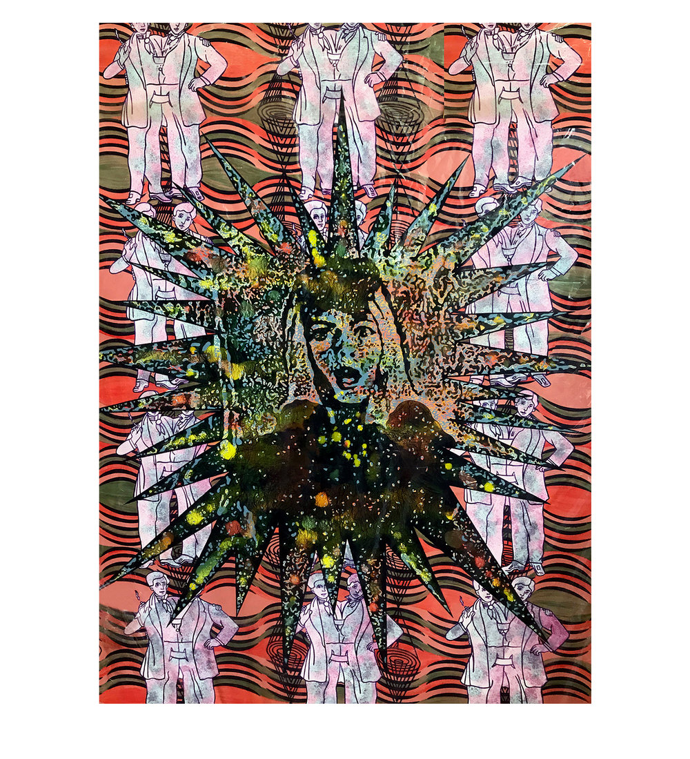 Carole Caroompas,  Before and After Frankenstein: The Woman Who Knew Too Much: Spectre and Emanation , 1994, acrylic on canvas, 60 x 48 inches