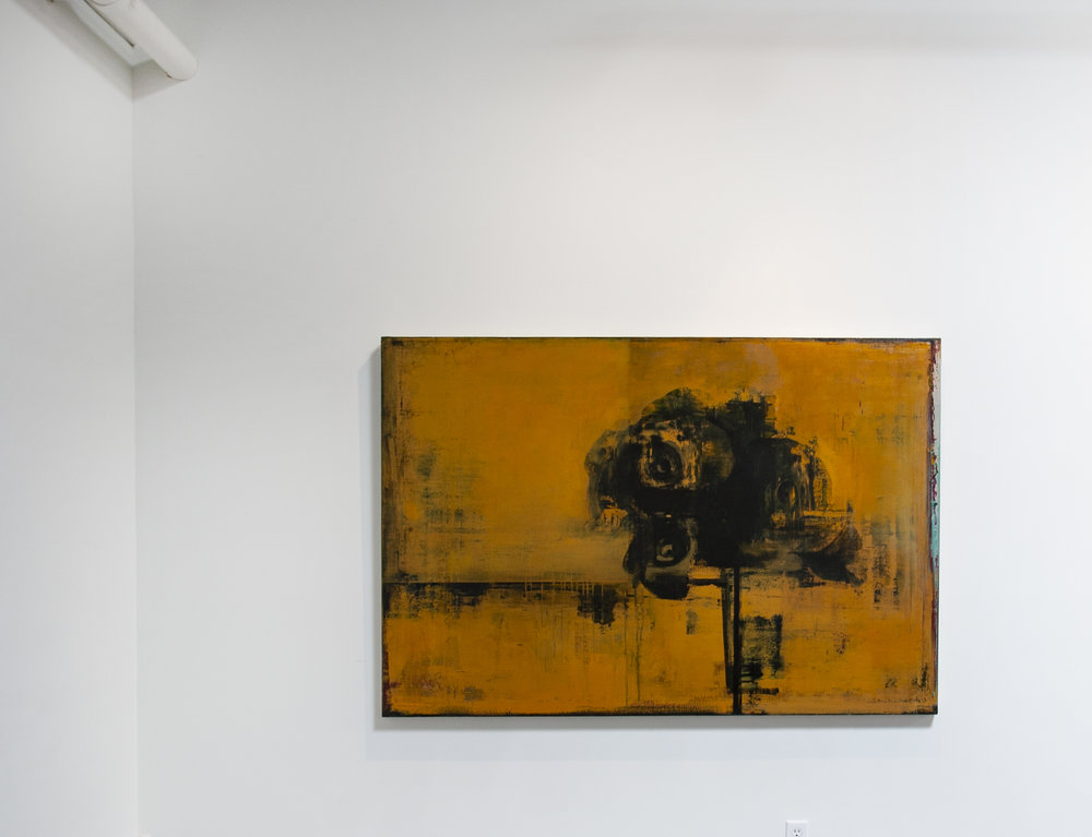 Daniel Brice, Polaroid Painting (Ochre), 2018, acrylic and oil on canvas, 48 x 72 inches