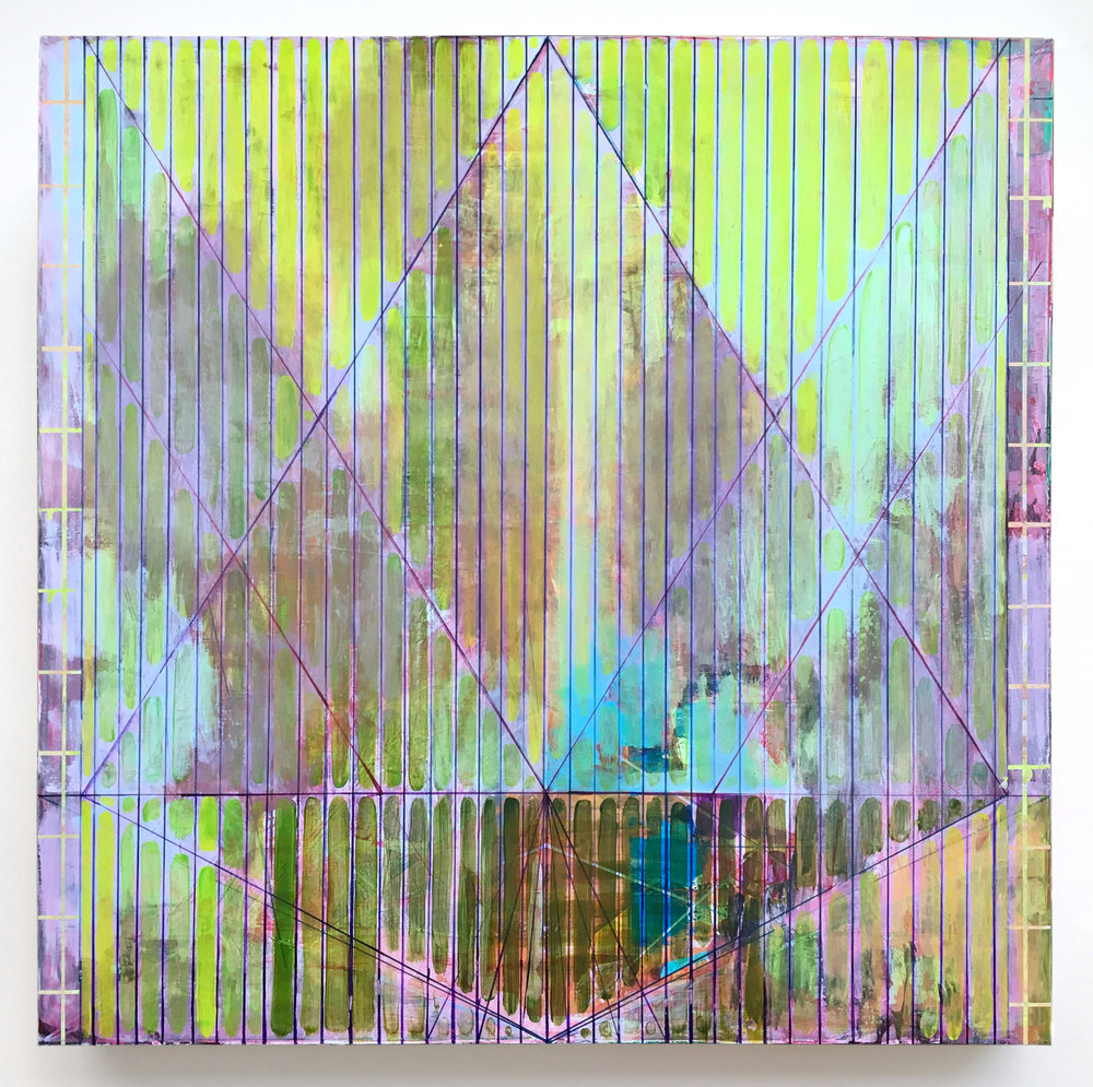 Joe Lloyd, Green Pattern, 2017, acrylic on canvas, 50 x 50 inches