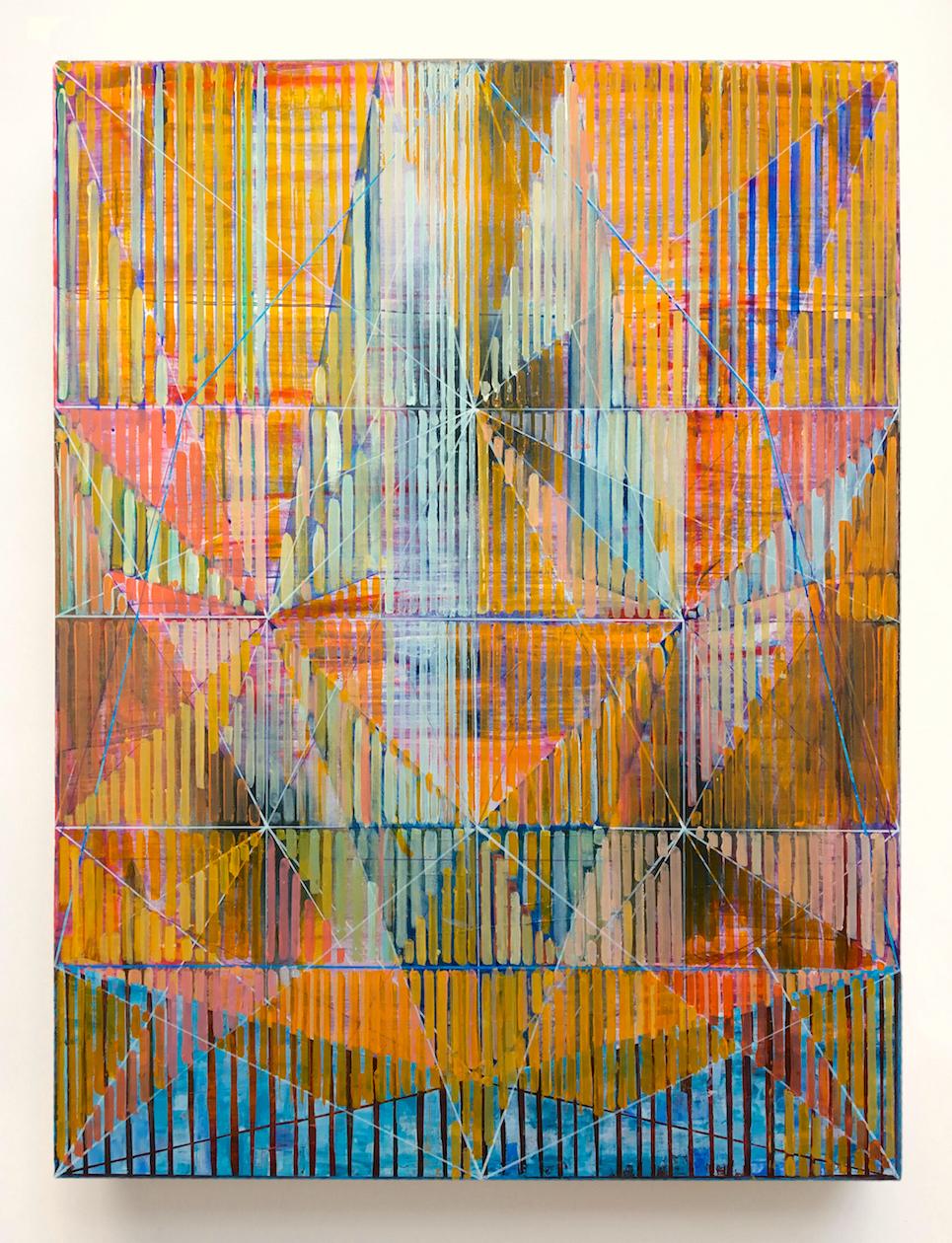 Joe Lloyd, Orange Offset Pattern, 2017, acrylic on canvas, 48 x 36 inches