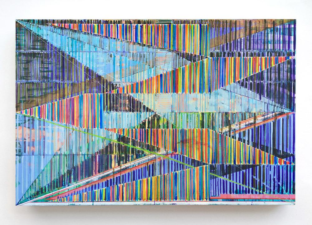Joe Lloyd, Secondary Offset Grid, 2018, acrylic on canvas, 48 x 72 inches