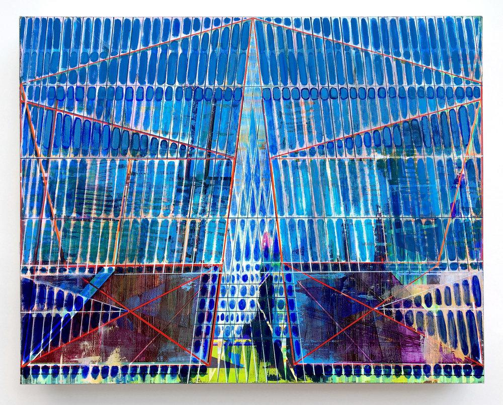 Joe Lloyd, Blue Pattern, 2017, acrylic on canvas, 48 x 60 inches