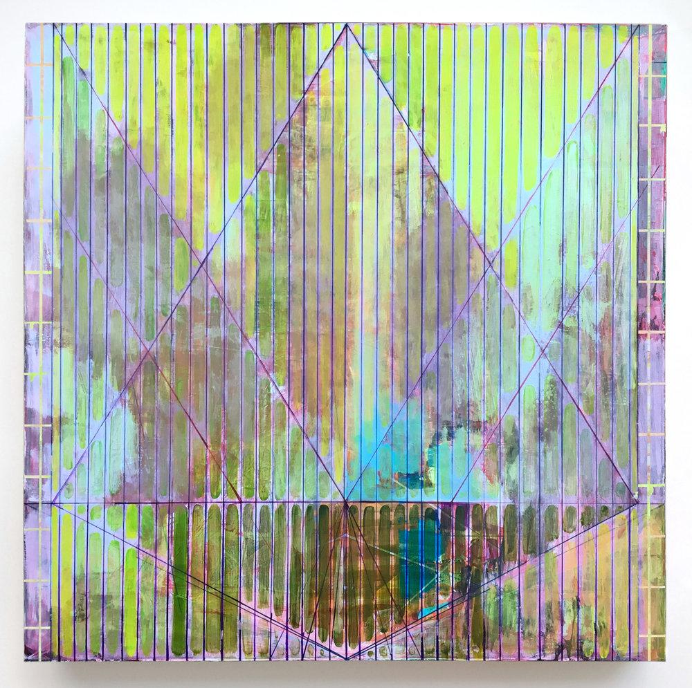 Joe Lloyd,Green Pattern, 2017, acrylic on canvas, 50 x 50 inches