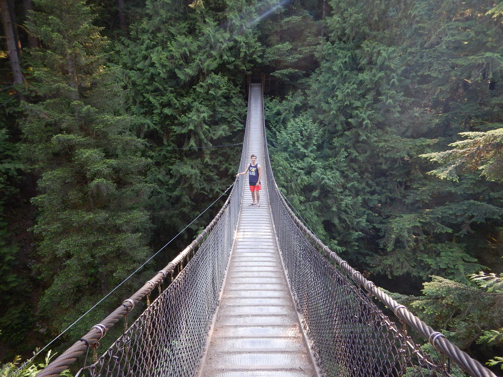 Lynn Canyon bridge during a Canada adventure tour in Vancouver.