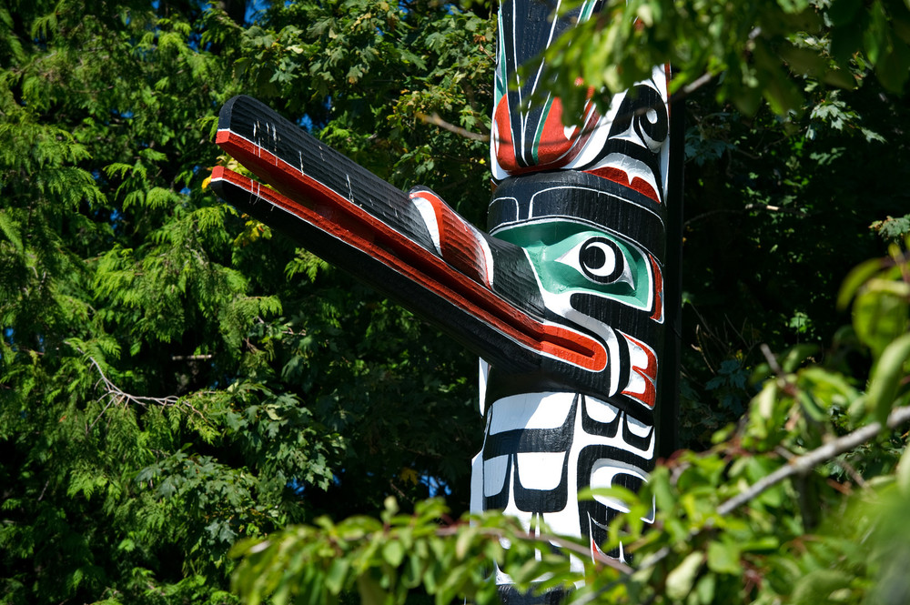 Vancouver totem poles during a tour.