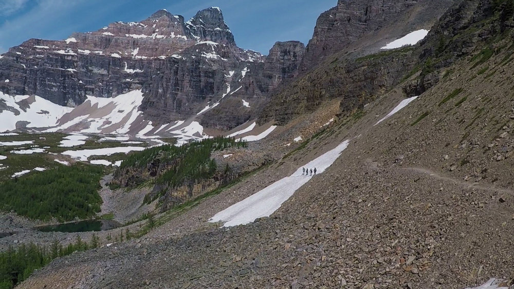 Guided hiking tour near Lake Louise in Canada.