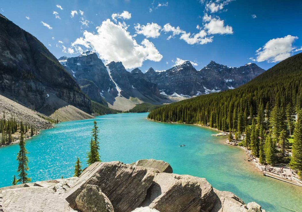 Camping tour in Canada near Moraine Lake.