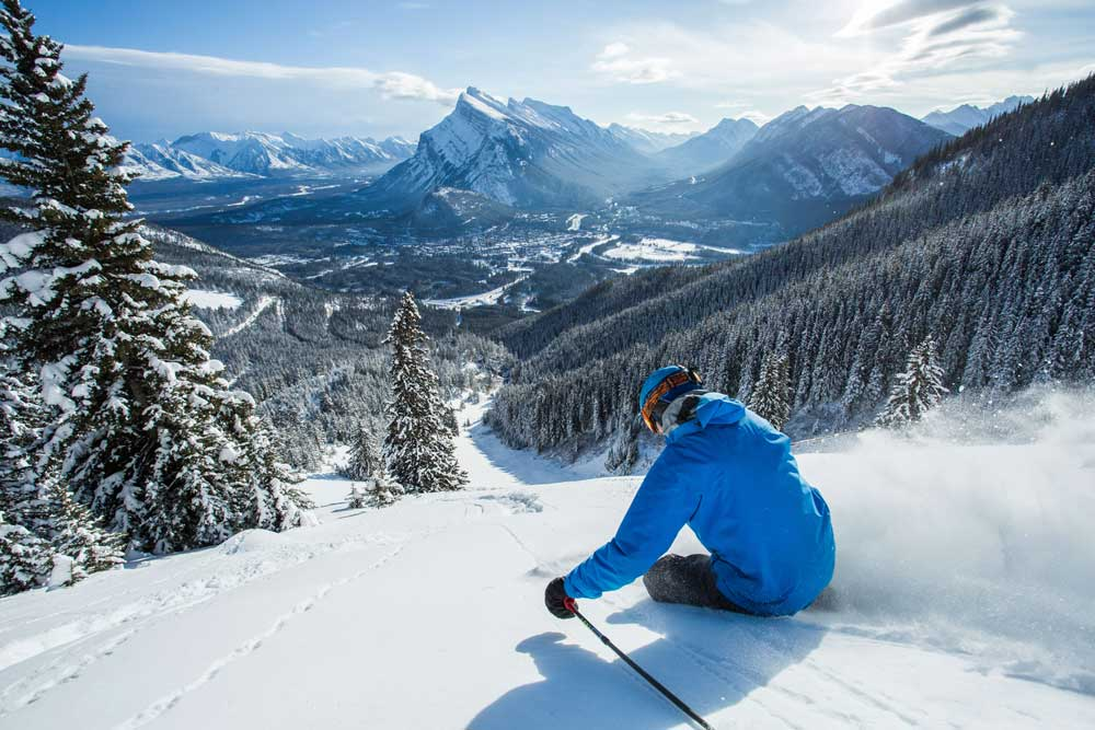 Guided skiing in the Canadian Rockies.